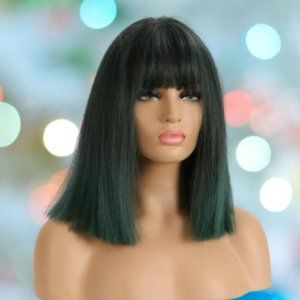 NEW Synthetic Wig Bob Bangs Black Green